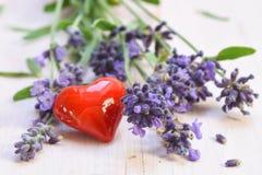 开花的淡紫色和从在被绘的白色的玻璃听见的红色 库存照片