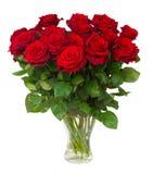开花的深红玫瑰花束在花瓶的 库存照片