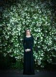 开花的白色荚莲属的植物背景的女孩  免版税库存图片