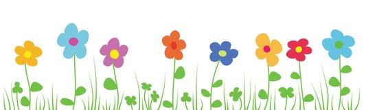 开花的草甸的传染媒介例证 免版税库存照片