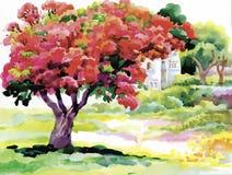 开花的水彩春天树在庭院导航例证 图库摄影