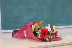 开花礼物被给老师 免版税库存照片