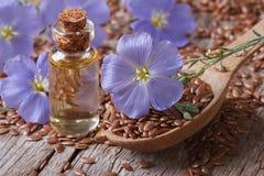 开花胡麻、种子和油在水平的瓶 免版税库存图片