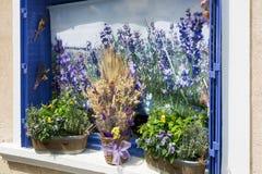 开花花束在一个窗口边缘在普罗旺斯-法国 免版税库存图片
