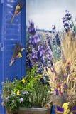 开花花束在一个窗口边缘在普罗旺斯-法国 库存照片