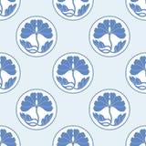 开花莲花圆点平的simlpe无缝的样式传染媒介illustraton 库存图片