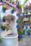 开花葡萄酒庭院的装饰 库存照片