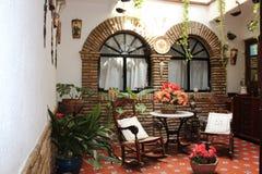 开花葡萄酒庭院露台费斯特的装饰,西班牙,欧洲 免版税库存照片