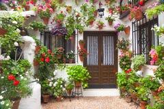 开花葡萄酒庭院,西班牙,欧洲的装饰 免版税库存图片