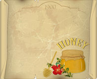开花蜂蜜老纸张 皇族释放例证