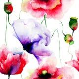 开花被传统化的例证鸦片 免版税图库摄影