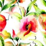 开花被传统化的例证鸦片 免版税库存图片