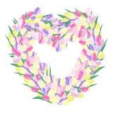 开花重点做的形状 郁金香花束弯曲了入心脏形状 向量例证
