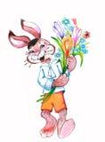 开花野兔绘画水彩 免版税库存图片