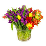 开花从五颜六色的郁金香的花束在被隔绝的玻璃花瓶 库存照片