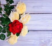 开花黄色和英国兰开斯特家族族徽花束  免版税库存图片