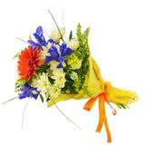 开花从被隔绝的大丁草、虹膜和其他花的花束 库存图片