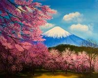 开花sacuras和富士 ?? 库存照片