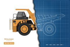 开采的倾销者图纸  旁边,后面和正面图 概述重型卡车图象 货物汽车工业图画  皇族释放例证