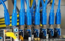 开采的蓝色USB数据缆绳 图库摄影
