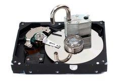开锁的磁盘驱动器困难挂锁 库存照片