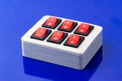 开-关按钮配件箱 库存照片