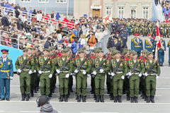 开头军事游行的俄国仪式在每年胜利天 库存照片