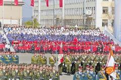 开头军事游行的俄国仪式在每年胜者的 库存照片