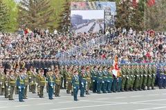 开头军事游行的俄国仪式在每年胜者的 免版税库存图片