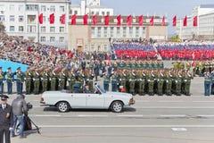 开头军事游行的俄国仪式在每年胜者的 图库摄影