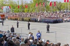 开头军事游行的俄国仪式 库存照片