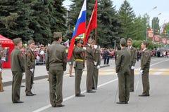 开头游行致力在WWII的胜利 Pyatigorsk,俄罗斯 库存图片