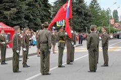 开头游行致力在WWII的胜利 Pyatigorsk,俄罗斯 免版税库存图片