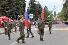 开头游行致力在WWII的胜利 Pyatigorsk,俄罗斯 免版税库存照片