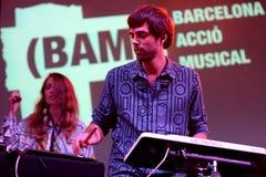 离开(电子带)音乐会在巴塞罗那Accio音乐(BAM) La梅尔切节日 免版税库存照片