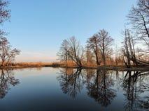 开水道与美好的树反射,立陶宛风景 免版税库存图片