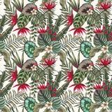 异乎寻常的无缝植物叶子花抽象的颜色 免版税库存图片