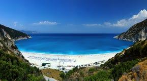 异乎寻常的海滩Myrtos Kefalonia 免版税库存照片