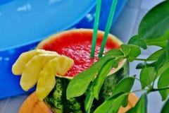 异乎寻常的鸡尾酒用西瓜和菠萝与小管 免版税图库摄影