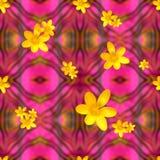 异乎寻常的减速火箭的花卉艺术装饰重复桃红色黄色 免版税库存照片