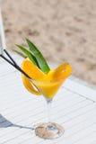 异乎寻常的夏天饮料含沙在海滩 图库摄影