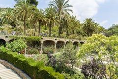异乎寻常的庭院和棕榈在公园Guell,西班牙 库存照片