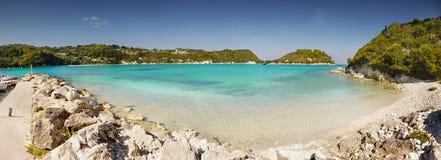 异乎寻常的海滩全景, Paxos海岛 库存图片
