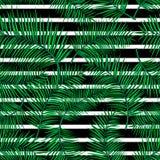 异乎寻常的热带无缝的样式,几何直线的减速火箭的传染媒介例证与动画片明亮的棕榈叶的 免版税图库摄影