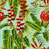 异乎寻常的花和绘无缝的背景的香蕉叶子 免版税库存照片