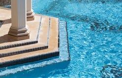 异乎寻常的豪华游泳池摘要 库存照片