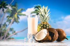 异乎寻常的饮料用在海滩的椰子 免版税库存图片
