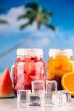 异乎寻常的饮料用在瓶子的果子 免版税库存图片