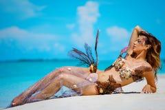 异乎寻常的幻想美人鱼画象在海滩的 免版税库存照片