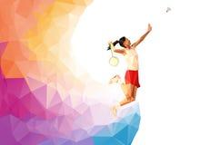 异常的五颜六色的三角背景:几何多角形专业羽毛球女性球员,跃起抽球 也corel凹道例证向量 免版税库存照片